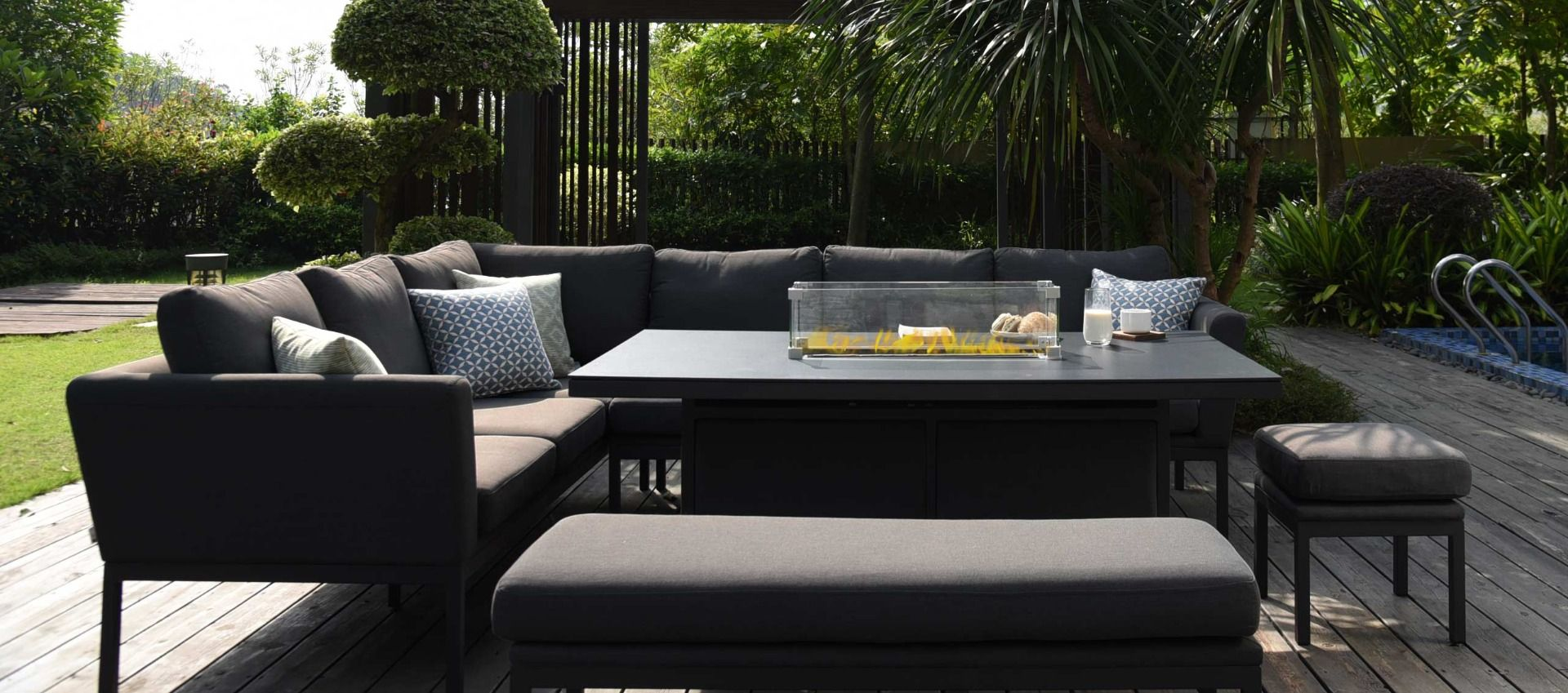 Image of: Maze Outdoor Fabric Pulse Rectangular Corner Dining Set With Firepit Table Available In 4 Colours Cheshire Sandstone